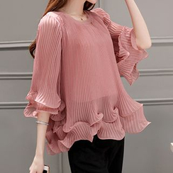 Lavogo - Pleated Bell-Sleeve Chiffon Blouse + Cropped Wide Leg Pants