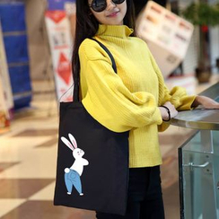 DUYU - Rabbit Print Canvas Shopper Bag