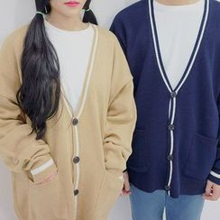 Seoul Homme - Couple V-Neck Stripe-Trim Cardigan