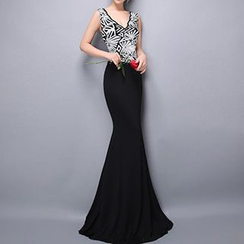 Posh Bride - Sequined V-Neck Sleeveless Mermaid Evening Gown