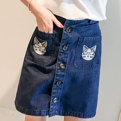 Colorful Shop - Cat-Print Denim Skirt