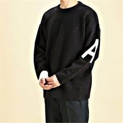 THE COVER - Crew-Neck Lettering-Sleeve Knit Top