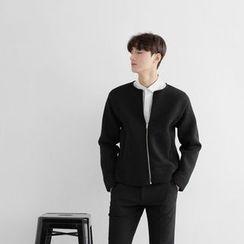 Seoul Homme - Round-Neck Neoprene Zipped Jacket