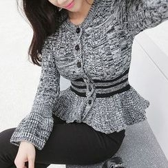 Seoul Fashion - Contrast-Trim Peplum Wool Blend Cardigan