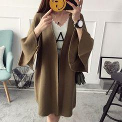 Qimi - Plain 3/4 Sleeve Knit Coat