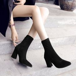 Raylove - Faux-Suede Pointy Ankle Boots
