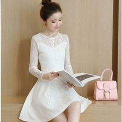 Eighoo - Long Sleeve A-Line Lace Dress