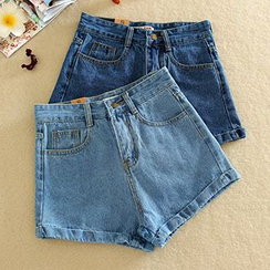 Ashlee - High-Waist Denim Shorts