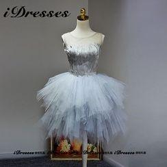 idresses - Feather Panel Embellished Tulle Prom Dress