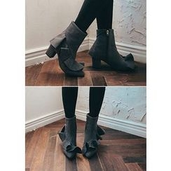 Chlo.D.Manon - Chunky-Heel Ruffled Faux-Suede Ankle Boots