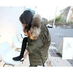 MARSHMALLOW - Faux-Fur Shirred-Detail Parka