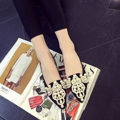 QQ Trend - Faux Pearl Pointy Flats
