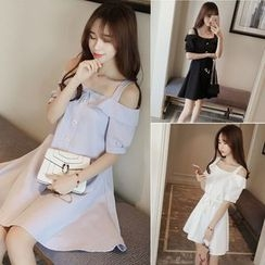 QZ Lady - Embellished Cold Shoulder A-Line Dress