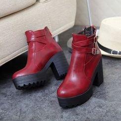 Pastel Pairs - Chunky Heel Platform Short Boots