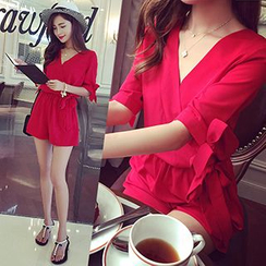 Ashlee - Elbow-Sleeve V-Neck Playsuit