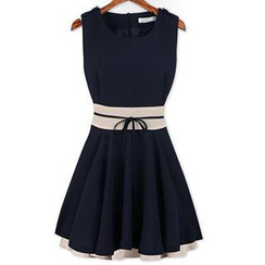 Eloqueen - Sleeveless Tie-Waist Contrast-Color Dress