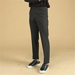 THE COVER - Flat-Front Pinstripe Dress Pants