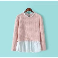Ainvyi - Inset Frill Blouse Textured Long-Sleeve Top