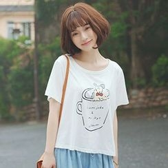 Angel Love - Dog Print Short-Sleeve T-Shirt