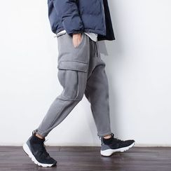 YIDESIMPLE - Button-Hem Cargo Sweatpants