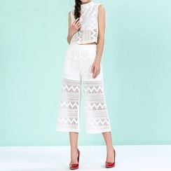 草莓花朵 - 套装: 蕾丝拼接无袖上衣 + 宽腿裤