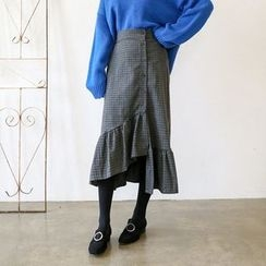Seoul Fashion - Ruffle-Hem Buttoned Check Long Skirt