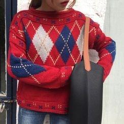 Dute - Argyle Boat Neck Sweater