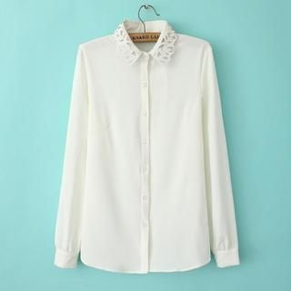 Flower Idea - Eyelet-Collar Chiffon Blouse