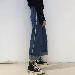 Tiny Times - Cropped Straight-Cut Jeans