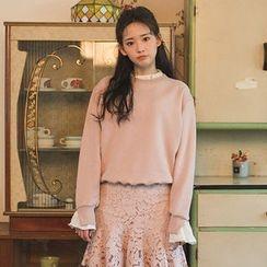 chuu - Frill-Trim Cotton Sweatshirt