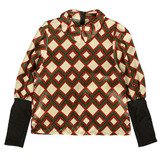 59 Seconds - Rib-Knit Sleeve Geometric Pattern Blouse
