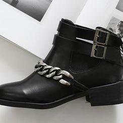 NANING9 - Chain-Detail Buckled Boots