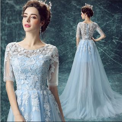 Angel Bridal - Short-Sleeve Lace Sheath Wedding Dress
