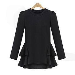 VIZZI - Ruffle Hem Long-Sleeve T-Shirt