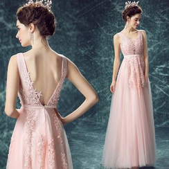 Angel Bridal - Lace Applique Sleeveless A-line Evening Gown