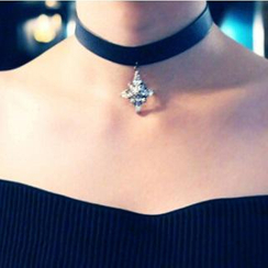 Ticoo - Faux Leather Choker with Crystal Pendant