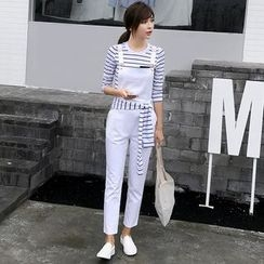 Rosesong - Set: Striped Long-Sleeve T-Shirt + Jumper Pants