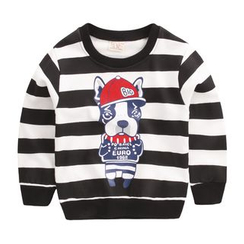 lalalove - Kids Dog Print Striped Pullover