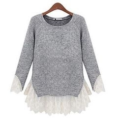 Eloqueen - Long-Sleeve Lace Panel Knit Top