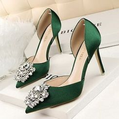 Mancienne - Jeweled High-Heel Sandals