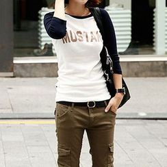 Lina - Lettering Raglan-Sleeve T-Shirt