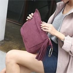 JVLLY - Tasseled Faux-Suede Clutch