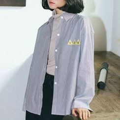 SUYISODA - Embroidered Striped Shirt