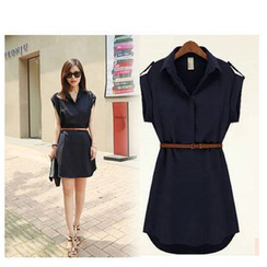 Blue Tune - Short-Sleeve Chiffon Dress