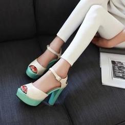 Pastel Pairs - 厚底有跟凉鞋