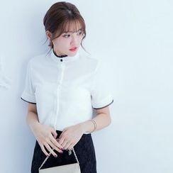 Tokyo Fashion - Stand Collar Short-Sleeve Shirt