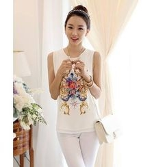 Lovebirds - Sleeveless Printed Chiffon Top