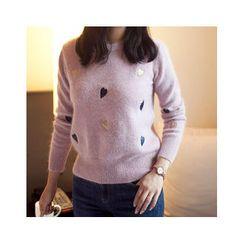 MASoeur - Heart Patterned Wool Blend Sweater