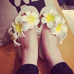Sewwi - 花朵裝飾仿珍珠拖鞋
