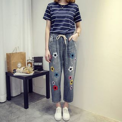VIZZI - Embroidered Straight-Cut Cropped jeans